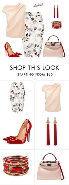 """""""Untitled #1881"""" by doris610 ❤ liked on Polyvore featuring River Island, Roland Mouret, Christian Louboutin, Yves Saint Laurent, Amrita Singh and Fendi"""