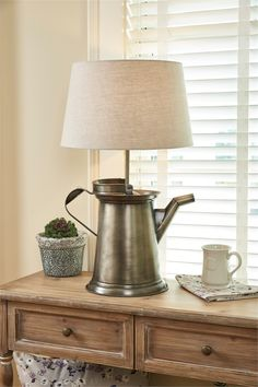 "Large Coffee Pot Lamp with Lampshade 26"" x 15.5"" x 10"""