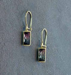 """Bask Watermelon Tourmaline Earrings - 18K gold watermelon tourmaline (4.5 TCW) earrings on wire with hook closure, approximately 1 1/8"""" in length"""