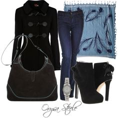 Black and Blue...LOVE the coat & shoes!!