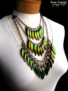 Jewel beetle wing necklace.