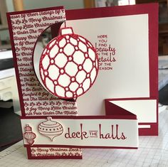 Splitcoaststampers deck the halls Christmas Cards 2018, Diy Christmas Tree, Xmas Cards, Holiday Cards, Winter Christmas, Scrapbooking, Advent, Fancy Fold Cards, Creative Cards