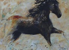 "Mixed Media Artists International: Contemporary Equine Art,Black Horse Painting ""STARLETT"" by Contemporary Artist CC Opiela"