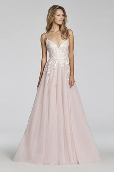 Style 1709 Denver Blush by Hayley Paige bridal gown - Pink Berry  posy-embroidered net A-line bridal gown 0146089d4806