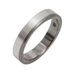 Titanium wedding ring with silver inlay