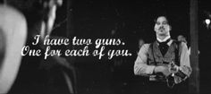 Quote: I have two guns, one for each of you. Val Kilmer as Doc Holliday in the film, Tombstone. Tombstone Quotes, Tombstone Movie, Doc Holliday, Val Kilmer, Favorite Movie Quotes, Movie Characters, Great Movies, Movies Showing, Book Series