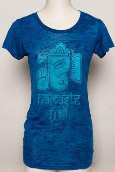 Ganesha namaste y'all screen printed on blue burnout tshirt Alternative Apparel womens S, M, L, XL. $34.00, via Etsy.