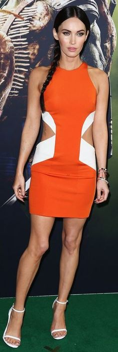 Who made Megan Fox's orange cut out dress and white sandals that she wore in Sydney on September 7, 2014