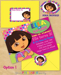 """New DORA the Explorer Inspired Deluxe Birthday Party Invitation 5x7"""" with Address Labels & Envelope Template- Print Yourself - PERSONALIZED. $14.00, via Etsy."""