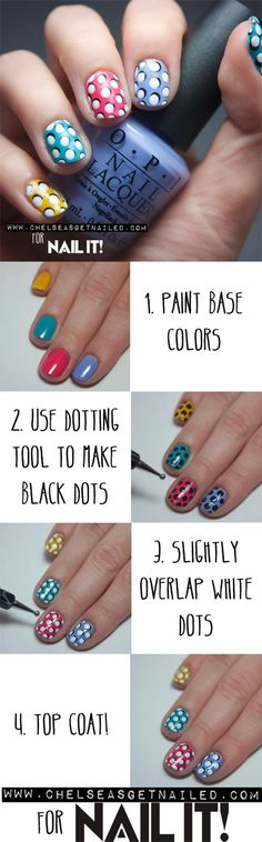 Polka dot nails how to
