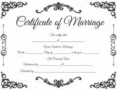 Traditional Corner Marriage Certificate Format for PDF Blank Certificate Template, Certificate Format, Wedding Certificate, Marriage Certificate, Marriage Tips, Happy Marriage, Marriage Cards, Certificate Of Appreciation, Marriage License