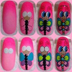 Manicure, Nail Drawing, Butterfly Nail Art, Nail Tutorials, Nails Inspiration, Nail Art Designs, Prado, Thalia, Bride Nails