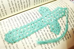 Bookmark  Handmade Turquoise Crochet Cross by CraftyChic90 on Etsy, $4.50