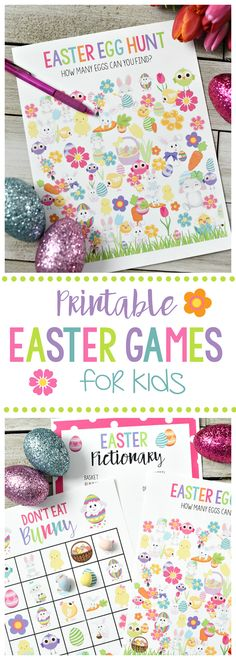 Cute Free Printable Easter Games for Kids-Easter Egg Hunt, Don't Eat Pete, and Easter Pictionary #Easter #Eastergames #EasterFun