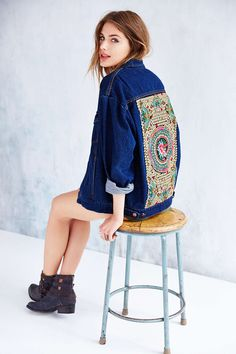 Native Rose Denim Tattoo Jacket