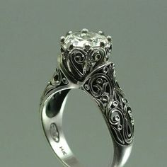 Gorgeous Gothic inspired engagement ring -fantastic filigree