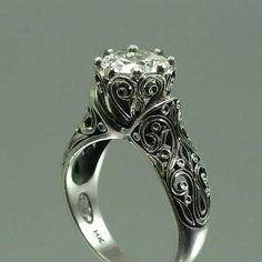 Gorgeous Gothic inspired engagement ring -fantastic filigree