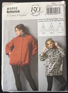 Butterick Loose Fit Hooded Jacket with Zipper or Button Front