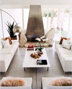 Modern, sleek fireplace