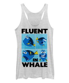 Finding Dory White Heather 'Fluent in Whale' Tank - Juniors