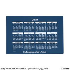 2019 Police Box Blue Laminated Calendar by Janz Placemat