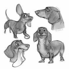 Cartoon Dog, Cartoon Drawings, Animal Drawings, Drawing Sketches, Sketch Art, Dachshund Drawing, Dachshund Art, Daschund, Dachshund Zeichnung