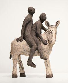 black and white - A Califourchon (Astride), 2015 - ceramic sculpture - Claude Roux