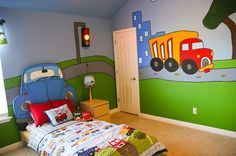 A newly painted truck mural brings more color to @Living With Lindsay's son's room - via MyColortopia.com