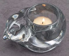 Sleeping Curled up Kitten Cat Heavy Clear Glass Crystal Votive Candle Holder