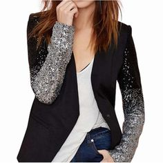 Womens Blazer with Ombre Sequin Sleeves Blazers For Women, Coats For Women, Jackets For Women, Clothes For Women, Women Blazer, Ladies Clothes, Sequin Blazer, Sequin Jacket, Sequin Dress