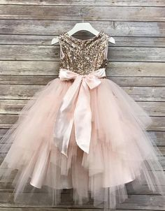 Sequin Top Flower Girl Glam Dress Blush, Rose Gold/ Champagne and Ivory Gold Sequin Top Dress rose gold sequin top dress big bow · Dressmeet · Online Store Powered by Storenvy Flower Girls, Blush Flower Girl Dresses, Tulle Flower Girl, Glam Dresses, Little Girl Dresses, Girls Dresses, Baby Flower, Pink Flower Girl Dresses, Pink Tulle