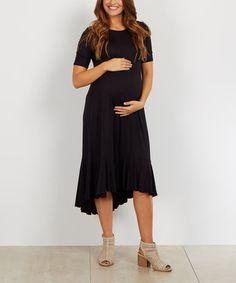 PinkBlush Black Hi-Low Maternity Midi Dress