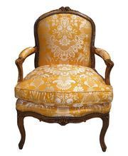 Antique Louis XV French Provincial Fruitwood Fauteuil Arm Chair. feather stuffed cushion clad in Scalamandre yellow silk fabric.