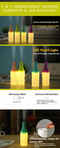 3 in 1 Practical Mini USB Cool Bottle #Humidifier / #Aromatherapy Machine / LED #Nightlight for Car Office Home /// Mini USB Water Steam Air Mist Ultrasonic Aroma Diffuser LED Table Light