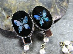 Vintage Black Cameo Sweater Clip, Blue Abalone Shell Butterfly, Sweater Guard / Cardigan Collar Clip, Pearl Sweater Chain, 1950s Jewelry by RedGarnetStudio