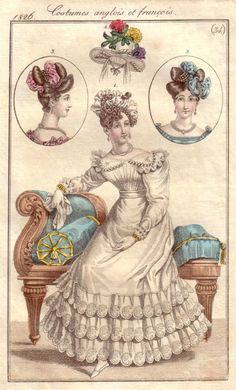 1826 Le Journal des Dames et Des Modes Costumes Parisiens - Apollo knot hairstyles