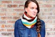 FREE Crochet Multi-Colored Striped Scarf Pattern via Rescued Paw Designs