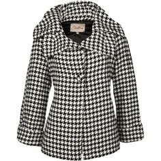 Darling Karmen Houndstooth Coat ($68) ❤ liked on Polyvore featuring outerwear, coats, jackets, coats & jackets, print coat, oversized coat, hounds tooth coat and houndstooth coat