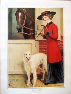 Victorian lady Horse Riding Borzoi