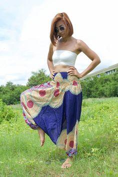 Thai Harem Pants Women Jumpsuit Yoga Mandala Blue with Burgundy Flower