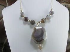 NecklaceBotswana Lace Agate Necklace Silver by NaturesJewelsByVina, $30.00