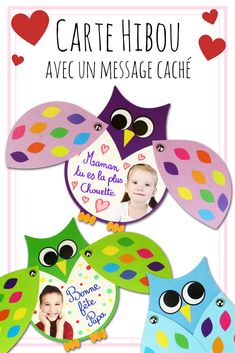 Mobile owl card to make - Card Making-Carte hibou mobile à fabriquer – Carterie These pretty owls hide a secret message under their wings. Diy Crafts For Kids, Gifts For Kids, Kids Diy, Papa Tag, Diy Niños Manualidades, Art Kits For Kids, Daddy Day, Owl Card, Message Secret