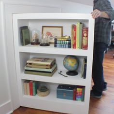 Learn how to make a secret door/bookcase. Learn how to make a secret door/bookcase. Attic Doors, Room Doors, Attic Window, Attic Renovation, Attic Remodel, Attic Storage, Hidden Storage, Bedroom Storage, Secret Storage
