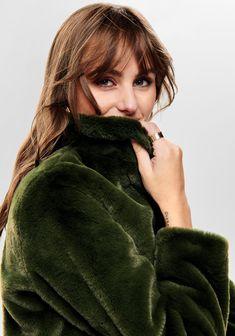 Fake Fur, Faux Fur Jacket, Green Jacket, Turtle Neck, Neutral Tones, Model, Jackets, Trends, Color