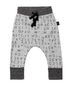 Huxbaby Organic Alphabet Drop Crotch Pants | Cool Kids Clothes | Tiny Style | Australia