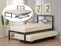 Amazon.com: Kings Brand Furniture Black Metal Twin Size Day Bed (Daybed) Frame with Pop Up Trundle: Kitchen & Dining