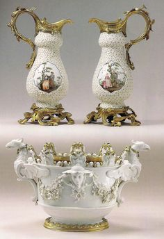 Meissen 'Mayflower' vases mounted in Louis XV ormolu circa the mounts bearing the Crowned C mark.And a Meissen white oval verriere mounted in German Baroque ormolu circa 1740 Dresden Porcelain, Fine Porcelain, Porcelain Ceramics, Antique China, China Patterns, Fantastic Art, Vases Decor, Decoration, Decorative Accessories
