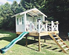 handmade hideaway: more reader love - the handmade home Outdoor recreation or outdoor activity identifies Backyard Playhouse, Build A Playhouse, Backyard Playground, Playhouse With Slide, Kids Playhouse Plans, Backyard Fort, Pallet Playhouse, Kids Outdoor Play, Backyard For Kids
