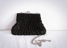 Vintage Black Classic Beaded Satin Evening / by Europetastetic