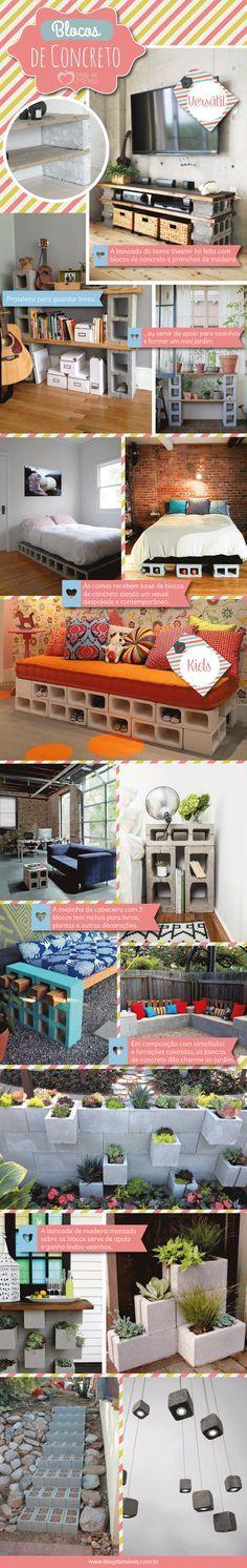 Blocos de concreto: criatividade e economia na decoração - Blog da Mimis.